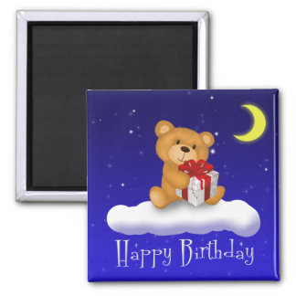 Teddy Bear with Gift - Happy Birthday Magnet