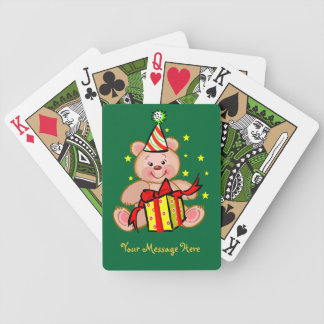 Teddy Bear With Gift Merry Christmas Holiday Bicycle Playing Cards
