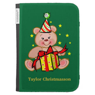 Teddy Bear With Gift Merry Christmas Holiday Kindle Covers