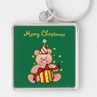 Teddy Bear With Gift Merry Christmas Holiday Keychain