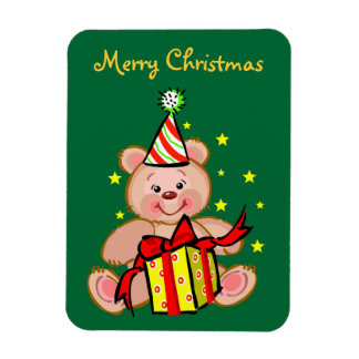 Teddy Bear With Gift Merry Christmas Holiday Magnet