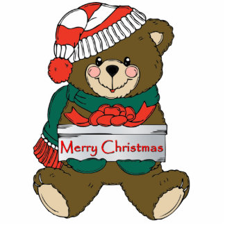 Teddy Bear With Gift Ornament Photo Sculptures