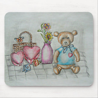 teddy bear with gifts mouse pad