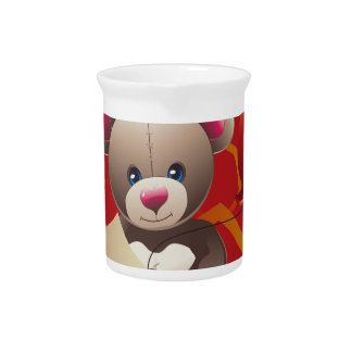 Teddy Bear with Heart 3 Beverage Pitcher