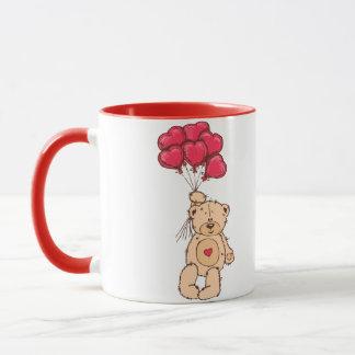 Teddy bear with heart balloons mug