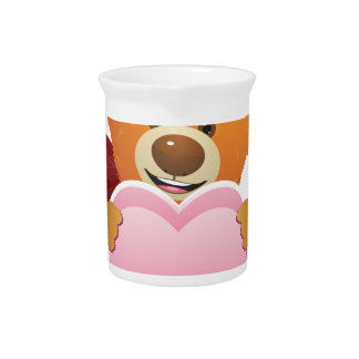 Teddy Bear with Heart Beverage Pitcher