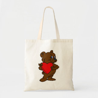 Teddy Bear with Heart Budget Tote Bag
