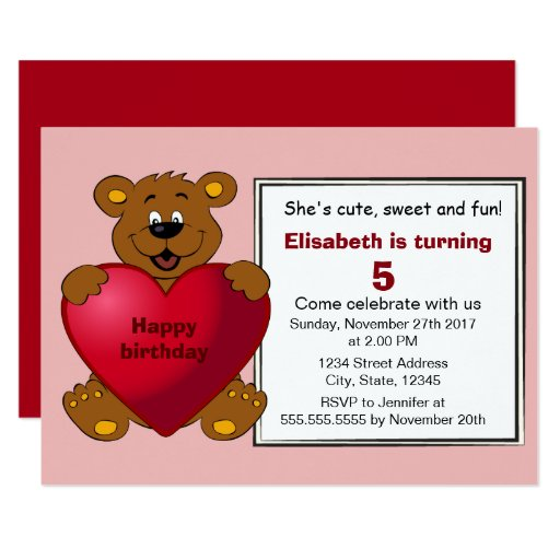 Teddy bear with heart girl kids red birthday party card 01794 area code