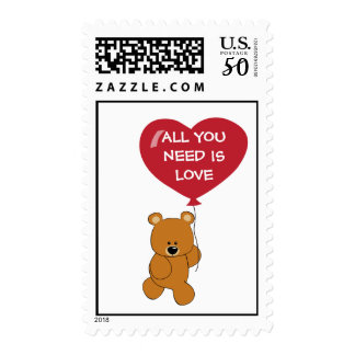 Teddy Bear with Heart Postage Stamp