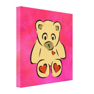 teddy bear with hearts canvas print