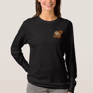 Teddy Bear with How To Paint Book Embroidery D1 Embroidered Long Sleeve T-Shirt