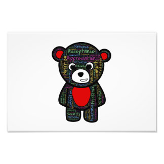 Teddy bear with inspirational text clipart photographic print
