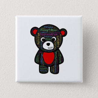 Teddy bear with inspirational text clipart pinback button