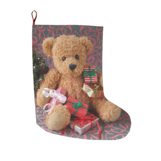 Teddy bear with many Christmas gifts Large Christmas Stocking