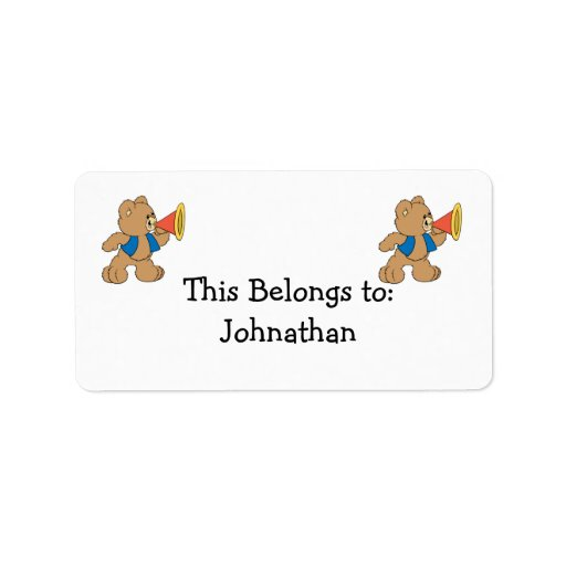 Teddy Bear with Megaphone Custom Address Labels