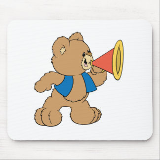 Teddy Bear with Megaphone Mouse Pad