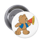 Teddy Bear with Megaphone Pinback Buttons