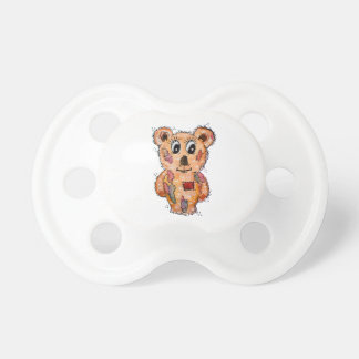 Teddy bear with patches pacifier
