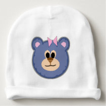 Teddy Bear with Pink Bow Baby Beanie