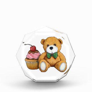 Teddy Bear with Pink Cupcake, Cherry, Original Art Award