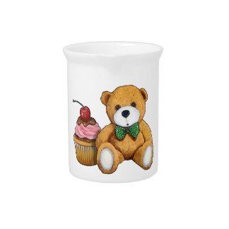 Teddy Bear with Pink Cupcake, Cherry, Original Art Beverage Pitcher