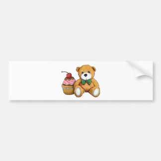 Teddy Bear with Pink Cupcake, Cherry, Original Art Bumper Sticker