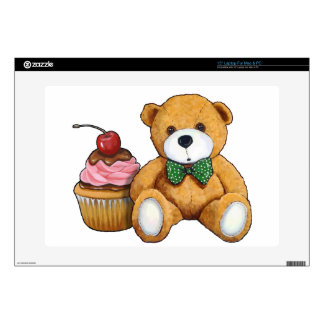 """Teddy Bear with Pink Cupcake, Cherry, Original Art Decal For 15"""" Laptop"""