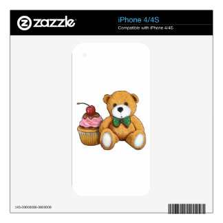 Teddy Bear with Pink Cupcake, Cherry, Original Art Decals For iPhone 4