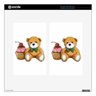 Teddy Bear with Pink Cupcake, Cherry, Original Art Decals For Kindle Fire