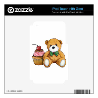 Teddy Bear with Pink Cupcake, Cherry, Original Art iPod Touch 4G Skins