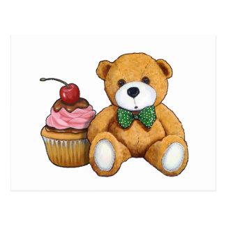 Teddy Bear with Pink Cupcake, Cherry, Original Art Postcard