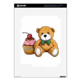 Teddy Bear with Pink Cupcake, Cherry, Original Art Skin For iPad 3