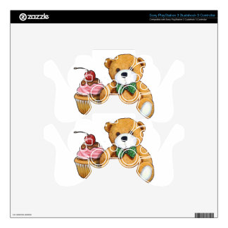 Teddy Bear with Pink Cupcake, Cherry, Original Art Skin For PS3 Controller