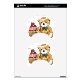 Teddy Bear with Pink Cupcake, Cherry, Original Art Xbox 360 Controller Skins