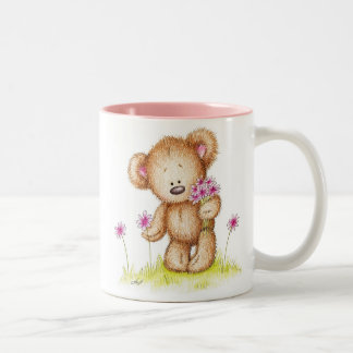 Teddy Bear With Pink Flowers Two-Tone Coffee Mug
