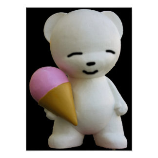 Teddy Bear with Pink Ice Cream Poster