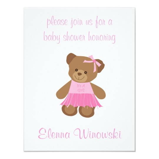 Pink Teddy Bear Baby Shower: Teddy Bear With Pink Tutu Baby Shower Invitation