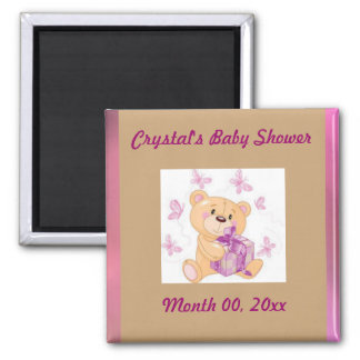 Teddy bear with present Save the Date baby shower 2 Inch Square Magnet