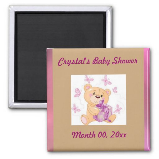 Teddy bear with present Save the Date baby shower Refrigerator Magnets