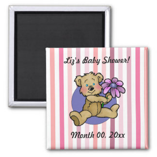 Teddy bear with purple flower save the date 2 inch square magnet