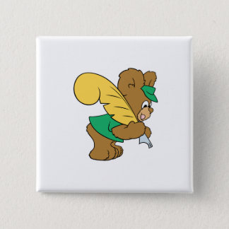 teddy bear with quill pen writer button