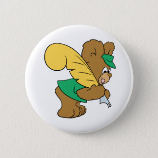 teddy bear with quill pen writer pinback button