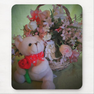 Teddy Bear with Rose And Flowers Mouse Pad