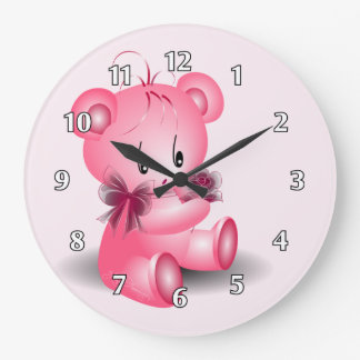 Teddy Bear With Rose Pink Large Clock