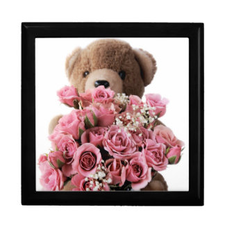teddy bear with roses gift box