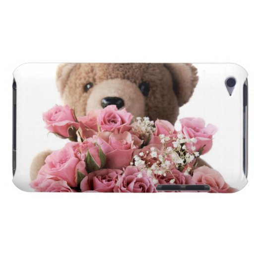 teddy bear with roses ipod touch case