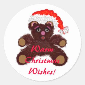 Teddy Bear With Santa Hat Classic Round Sticker
