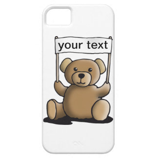 teddy bear with sign for your individual text funda para iPhone SE/5/5s