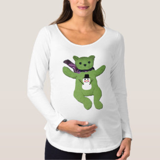 Teddy Bear with Snowman with Teddy Bear Maternity T-Shirt
