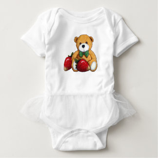 Teddy Bear With Strawberries, Original Colorful Baby Bodysuit